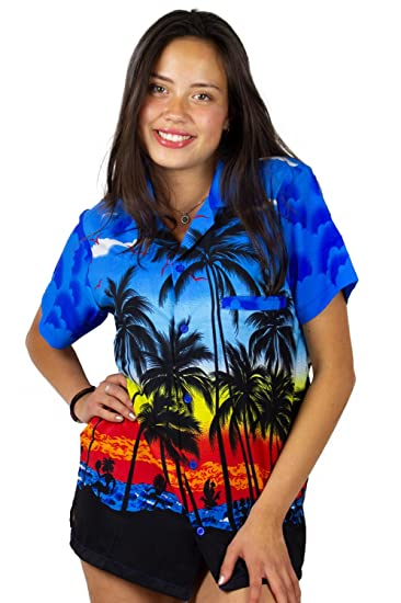 d1d1ae4ab17c2c V.H.O. Funky Hawaiian Blouse Women Short-Sleeve Front-Pocket Beach Palm  Multi Colors at Amazon Women s Clothing store