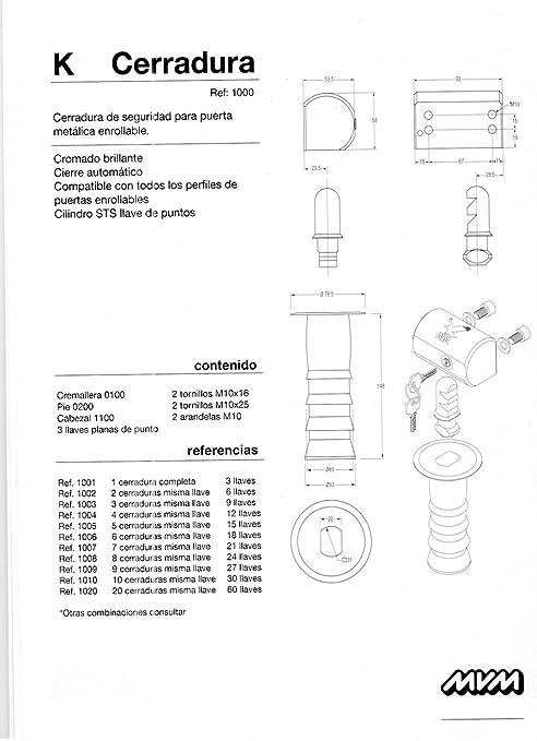 Kit de 4 cerraduras MVM modelo K con la misma llave (12 llaves): Amazon.es: Industria, empresas y ciencia