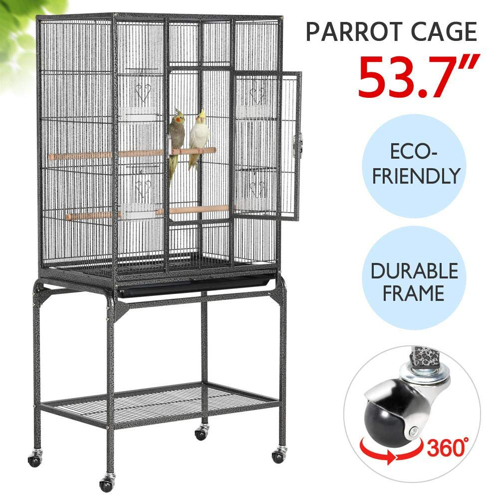 YAHEETECH Wrought Iron Rolling Large Bird Cage for African Grey Small Quaker Amazon Parrots Cockatiels Sun Parakeet…