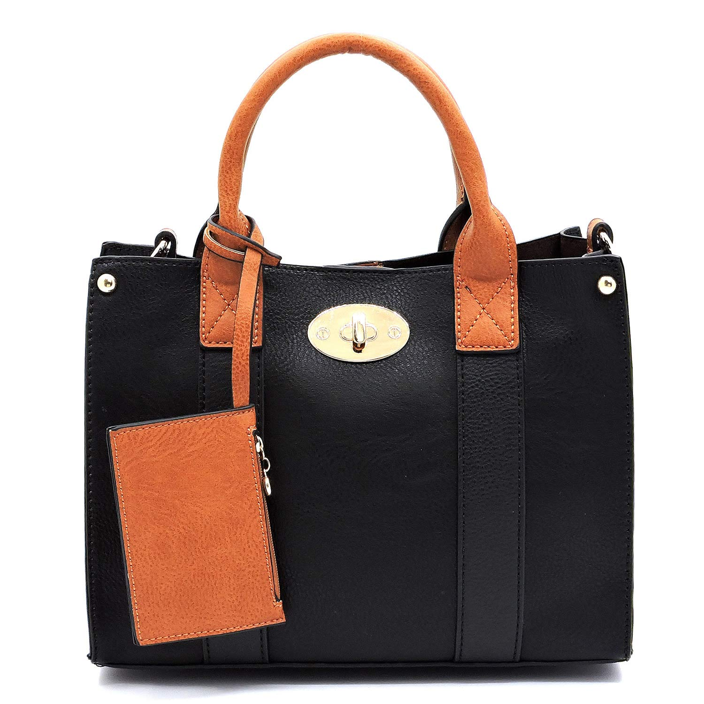 Black Vegan faux leather Mini handbag + Crossbody purse + Flat pouch 3 pcs set