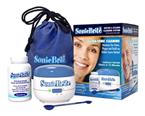 SonicBrite Denture / Retainer Cleaning Kit — Clean any Removable Dental Device with a Powerful Sonic Bath — Cleaner for Night & Mouth Guards, Aligners & More — Powerful Cleaning System