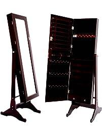 Attractive Square Furniture Mirrored Jewelry Cabinet Armoire Stand, Cabinet   ESPRESSO