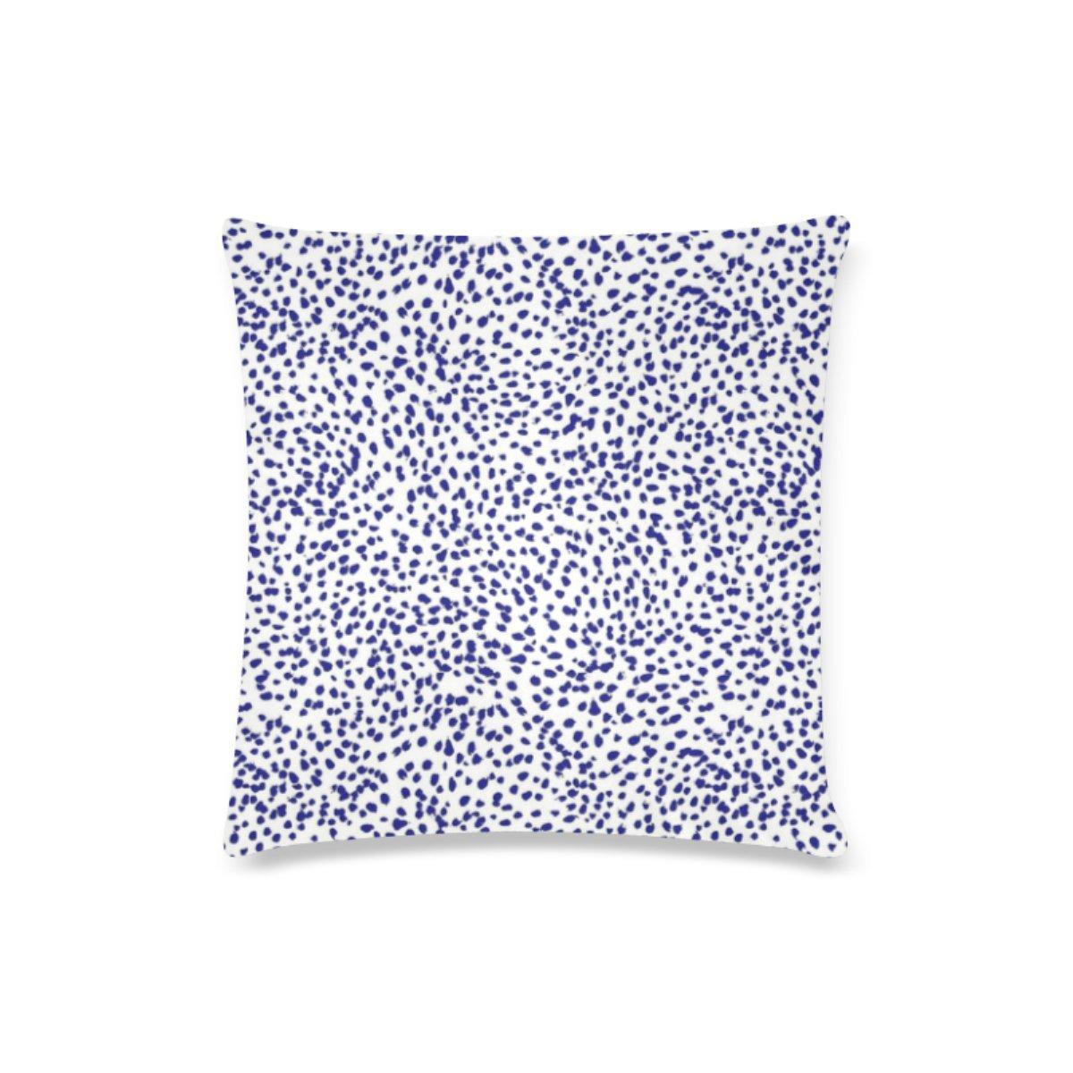 Custom color azul dálmata puntos pinceladas cojín casos con ...