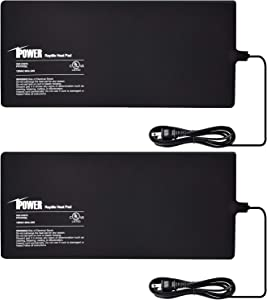 iPower 2-Pack 8 X 18 Inch Reptile Heating Pad Terrarium Heater 24W Under Tank Heat Mat for Amphibians and Reptiles Pet