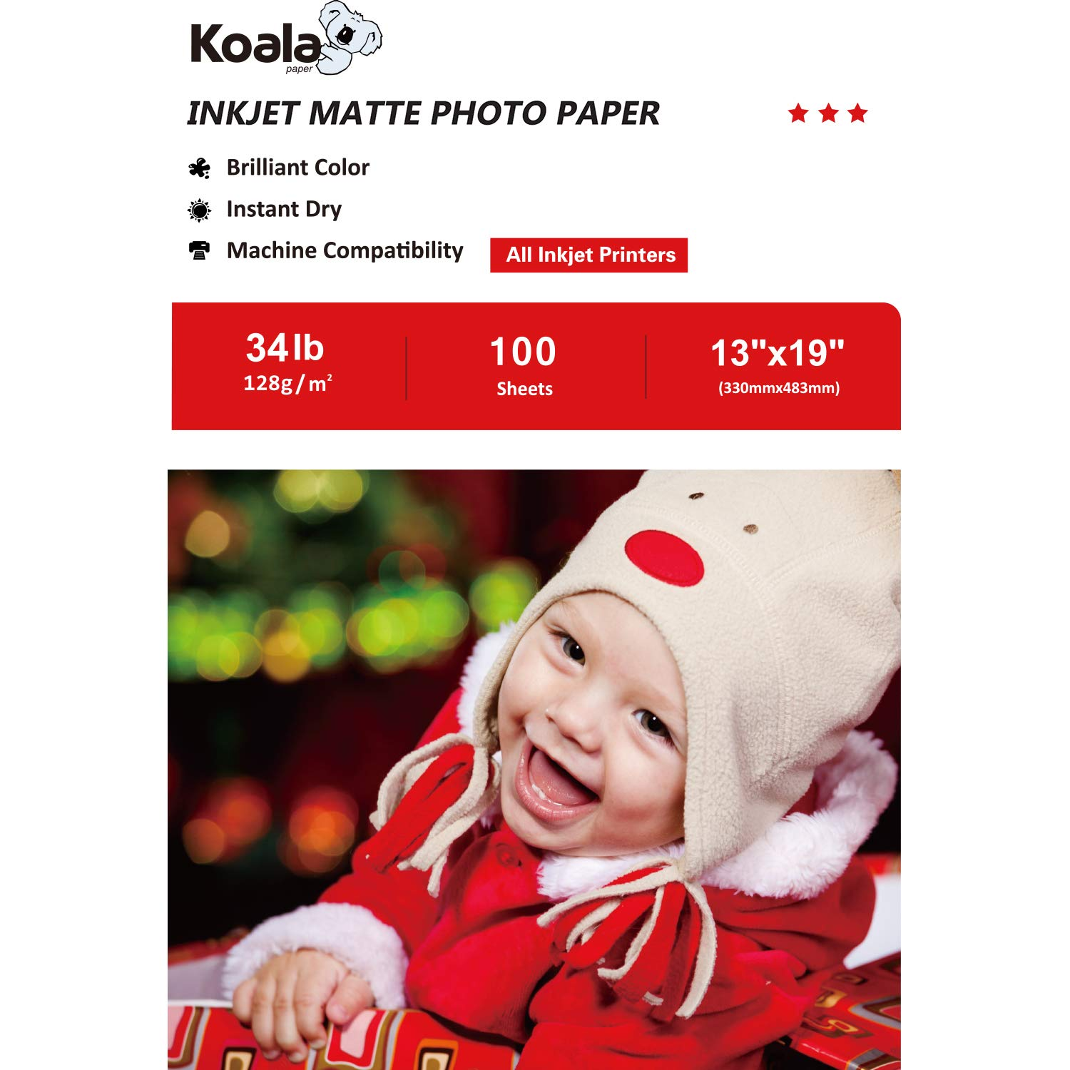 Koala Photo Paper 13x19 Inches Matte Photo Paper 100 Sheets 128gsm Compatible with All Inkjet Printer