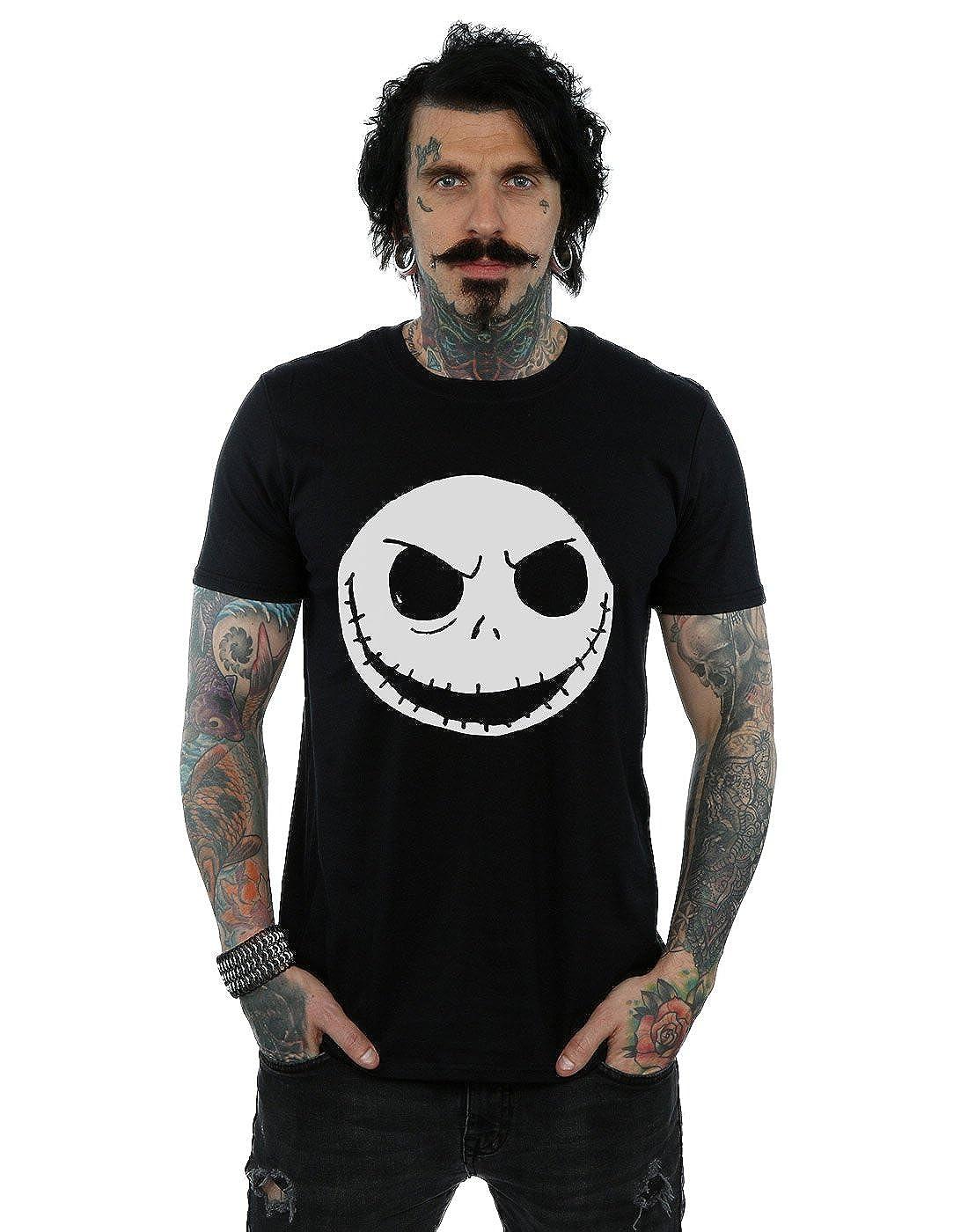 Disney Hombre Nightmare Before Christmas Jack Skellington Face Camiseta Absolute Cult