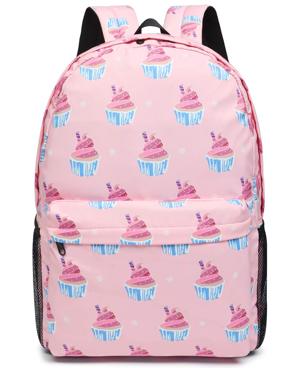 Oflamn Pink Cupcakes Backpack | Bookbag | Daypack | Fit in 15'' Laptop and Multi-pockets with YKK zippers | Super Light Waterproof Nylon | Perfect for Work, Commute, Travel & College by Oflamn