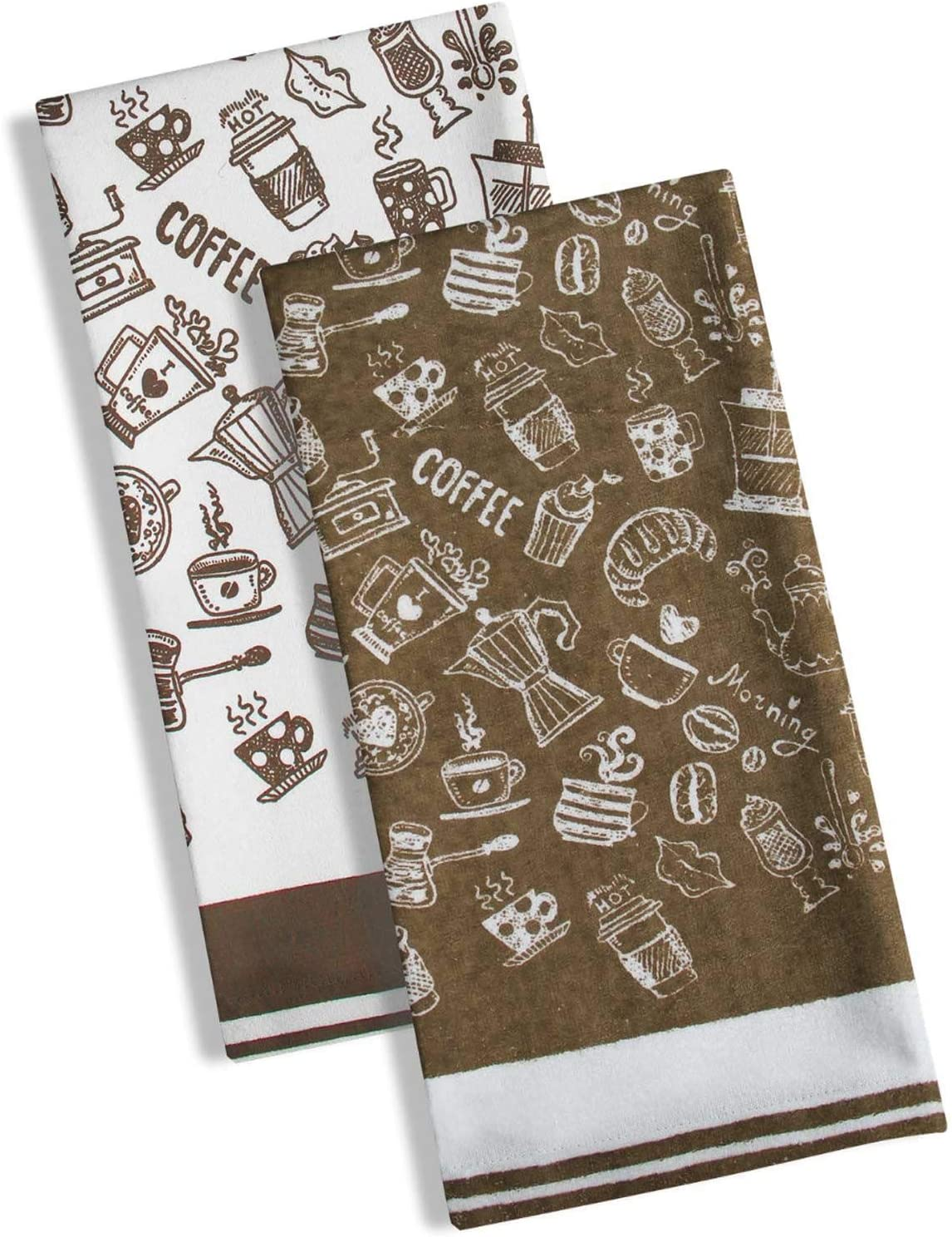 It Ideal Textiles Set Of 2 Coffee Tea Towels Pack Of Two Latte Velour Woven Kitchen Towels Funky 100 Cotton Absorbent Tea Towel Packs Morning Coffee Amazon Co Uk Kitchen Home