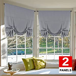 H.VERSAILTEX Thermal Insulated Blackout Tie Up Curtains Adjustable Window Shades for Living Room, Rod Pocket 2-Pack, 42 x 63 Inch Long - Solid in Dove Gray