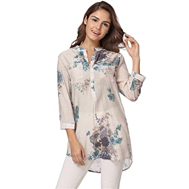 45ac5fe69ab63 3XL 4XL 5XL Summer Long Tops Vintage Floral Printed Blouse Shirt Womens  Tops and Blouses Ladies