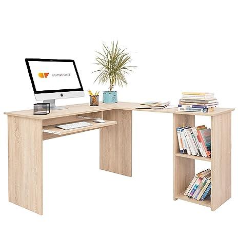 COMIFORT T06S - Escritorio Forma L Mesa de Ordenador Esquina Escritorios Juvenil para Hogar o Oficina 120/140x48x75 cm Roble Sonoma