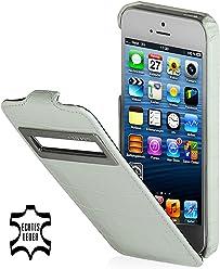 StilGut Étui ultra fin, sacoche en cuir avec fenêtre (iOS 6) pour Apple iPhone 5& iPhone 5s Blanc–Croco