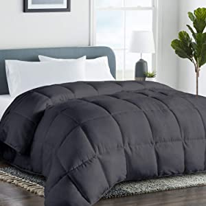 COHOME King 2100 Series Summer Cooling Comforter Down Alternative Quilted Duvet Insert with Corner Tabs All-Season - Plush Microfiber Fill - Reversible - Machine Washable - Dark Grey