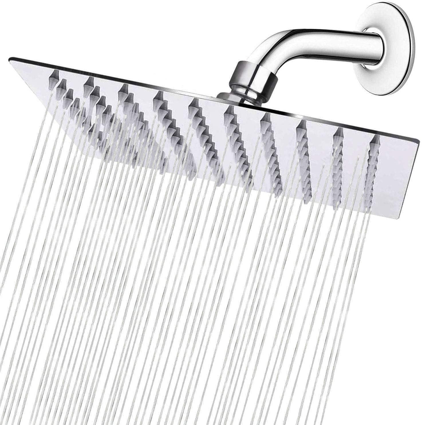 Quadrat abgewinkelter Duscharm Sieyes 20,3 cm Regenduschkopf und 22,9 cm Verl/ängerung