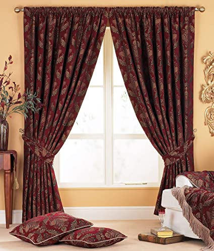 Shiraz Pencil Pleat Curtains (Pair) - Burgundy Red and Gold - Damask  Jacquard Tapestry - Ready Made - Matching Tiebacks - Room Darkening - 100%  Polyester - 168cm width x 183cm drop (