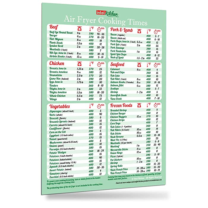 """Must-Have Air Fryer Cookbook Accessories Green Cooking Times Magnet 76 Food Types Big Text Easy To Read Cheat Sheet Kitchen Cooking Hot Air Frying Cook Time Chart 8""""x11"""" Recipes Reference Holiday Birthday Day Gift for Dad Son Husband Wife Mom Daughter"""