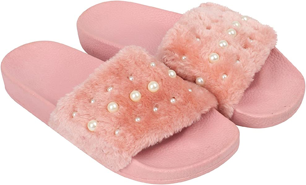 LADIES SLIPPERS SLIDERS FAUX FUR DIAMANTE PINK COMFY WOMENS NEW FLUFFY SLIP ON