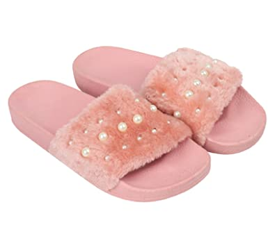 5c9c1dc6ce32 Kelsi Ladies Slippers Sliders Faux Fur Diamante Pink Comfy Womens New  Fluffy Slip on  Amazon.co.uk  Shoes   Bags