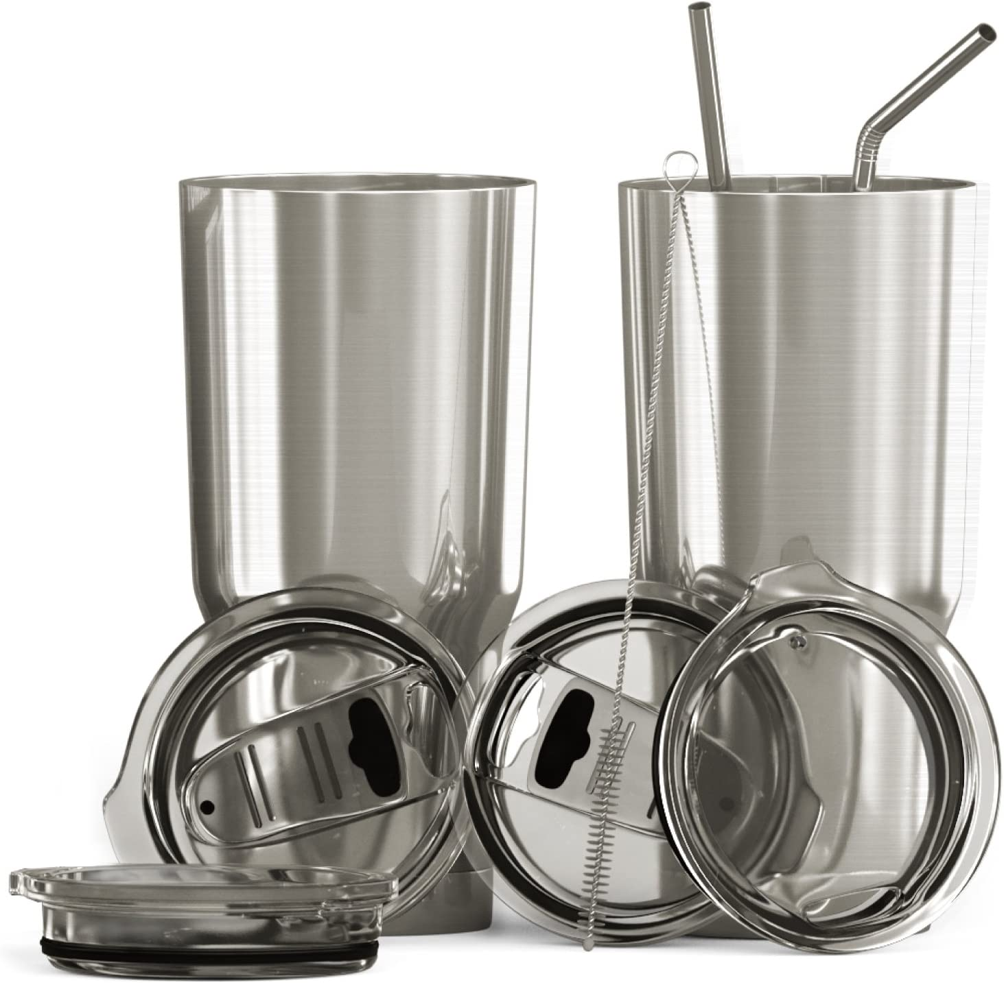 BluePeak Double Wall Stainless Steel Vacuum Insulated Tumbler Set, 2-Pack. Includes Sipping Lids, Spill-Proof Sliding Lids, Straws, Cleaning Brush & Gift Box (30oz, Stainless Steel)