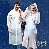 Chubasquero Transparente, Reutilizable e Impermeable – Abrigo Poncho Protección Resistente a Lluvia – Chaqueta Con Capucha y Mangas – Para Viaje, Festivales, Senderismo, Emergencia – Unisex(2 Paquete)