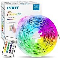 Tiras LED 5M, 5050 RGB con Mando/Control Remoto, 150 LEDs Adaptador de Alimentación 12V 2A, Strip Led para TV Coche…