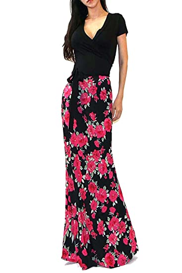 75de001bd06 Vivicastle Women s Summer Printed V-Neck Short Sleeve Wrap Tie Waist Long  Maxi Dress (