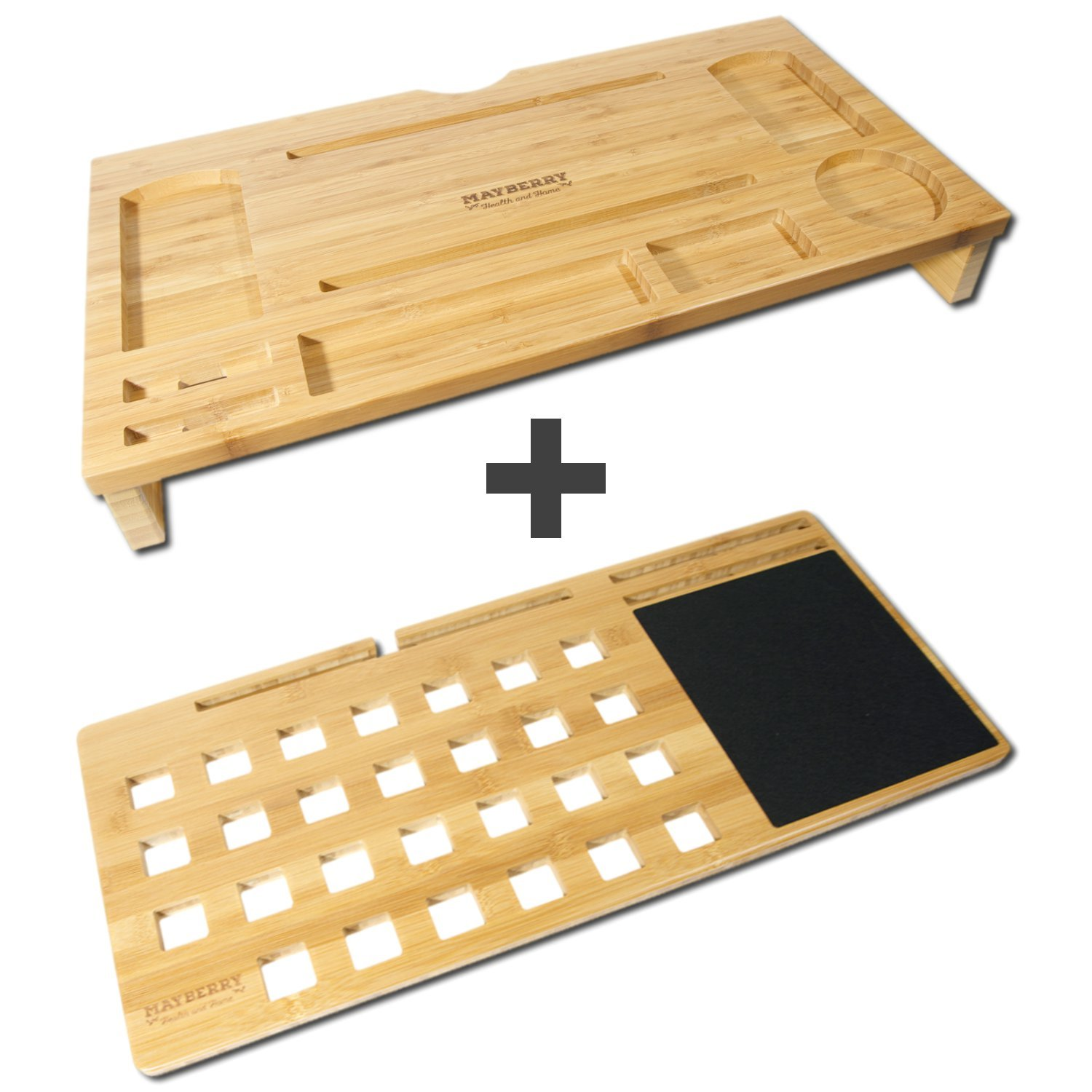Bamboo Computer Desktop Organizer and Lap Desk Board for Laptops up to 17'' Wide. Built-in Mouse Pad Plus Slots for Smartphones and Tablets.