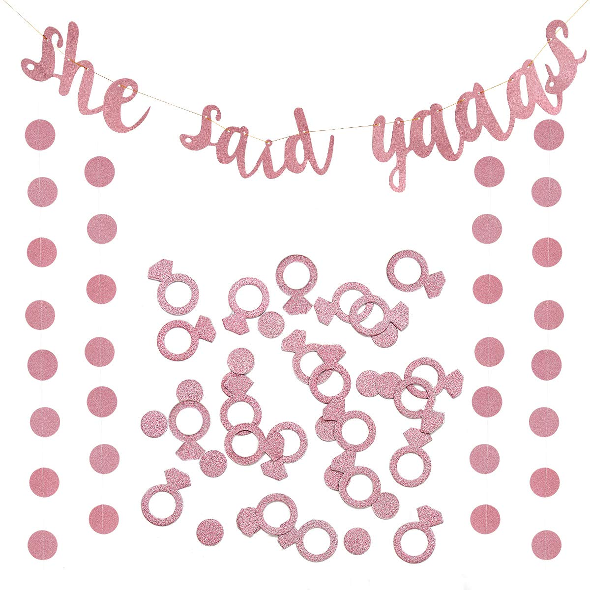 She Said Yaaas and Ring Confetti Rose Gold for Bridal Shower Engagement Wedding Party Decorations Home Kitty Bachelorette Party Banner