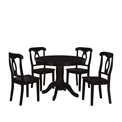 Dorel Living 5 Piece Aubrey Traditional Pedestal Height Dining Set, Black