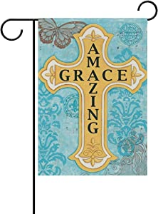 Fornate Amazing Grace Cross Home Decorative Outdoor Garden Flag Double Sided, Butterfly Welcome Seasonal House Yard Flags 12x18 Inch