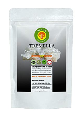 Organic Tremella Mushroom Extract Powder Piperine, Beauty and Hydration 100 Grams 100 USDA Organic Fruiting Body. Small Batch, Produced Fresh. Potent Feel The Difference