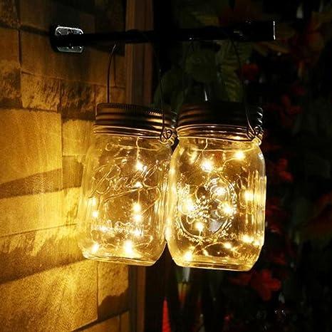 Rameng Solaire Led Lumière Extérieur Mason Jar Guirlande Lumineuse Solaire De Soirée Mariage Jaune 2m