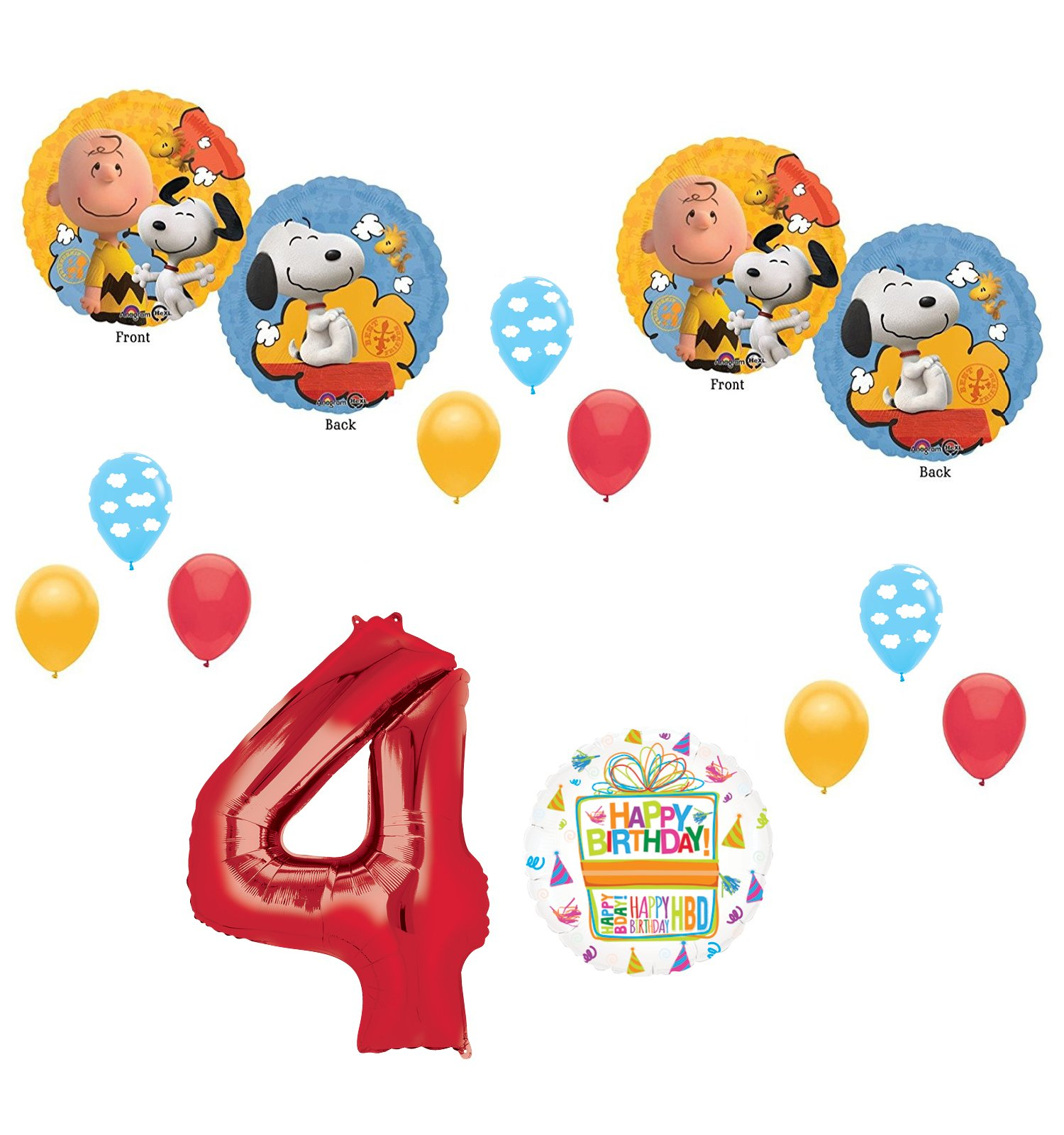 Charlie brown and Snoopy Peanuts 4th Birthday Party Supplies and Balloon Bouquet Decorations