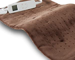 "Mosabo Heating Pad for Back Pain and Cramps Relief - Adjustable Auto Off Time - 6 Temperature Settings Extra Large 12"" x 24"" Electric LCD Heat Pad Auto Shutoff - Brown Heated Pad"