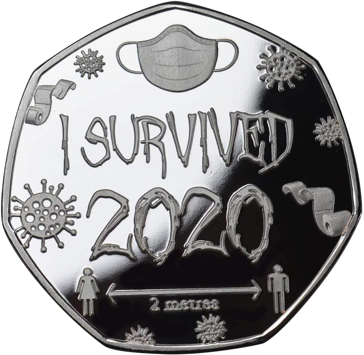ZS ZHISHANG 'SOBREVIVÍ 2020' 999,'I Survived 2020' 999 Silver Commemoratives Copy Coins Gift for Friends Family Collectors
