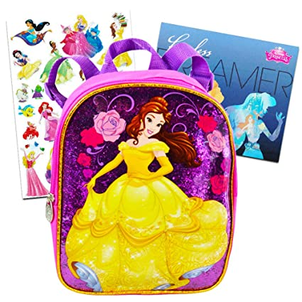 Amazon.com   Disney Beauty and the Beast Toddler Preschool Backpack 10 inch  Belle Mini Backpack with Stickers (Pink, Glitter)   Kids  Backpacks 8d7ebcecf4
