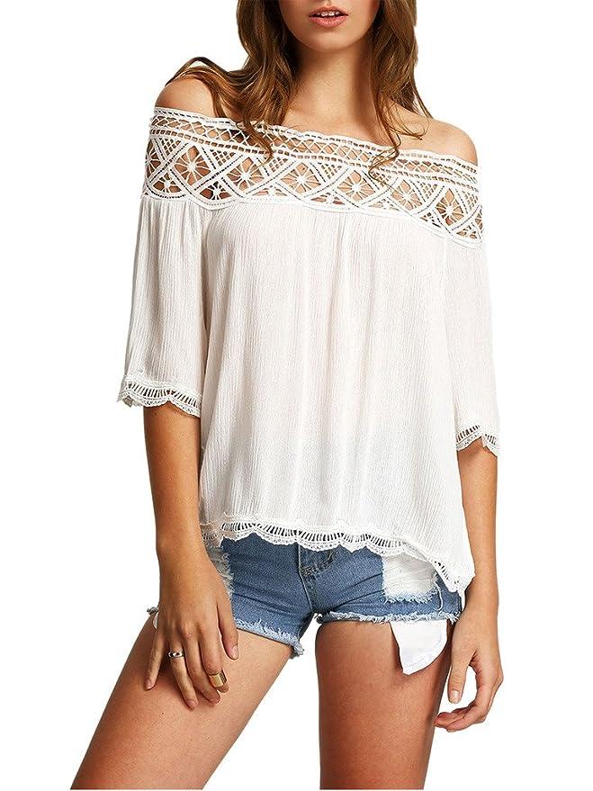 Minetom Blusa Camiseta Casual Elegante Hueco Cuello ...