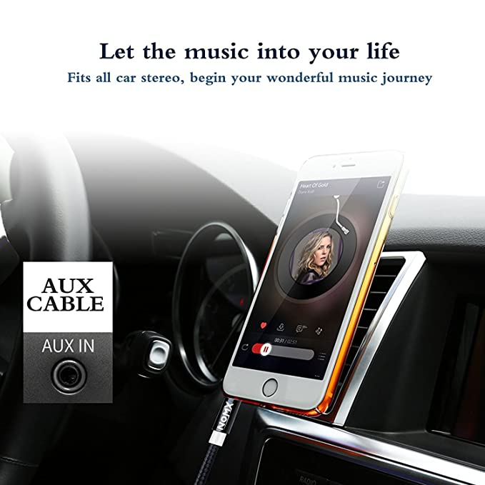 Aux Cord for Car - Audio Auxiliary Cable 3FT Long Durable Pretty Tangle  Free Shielded Slim Thin Noise Reducing - Compatible with Home Theatre,