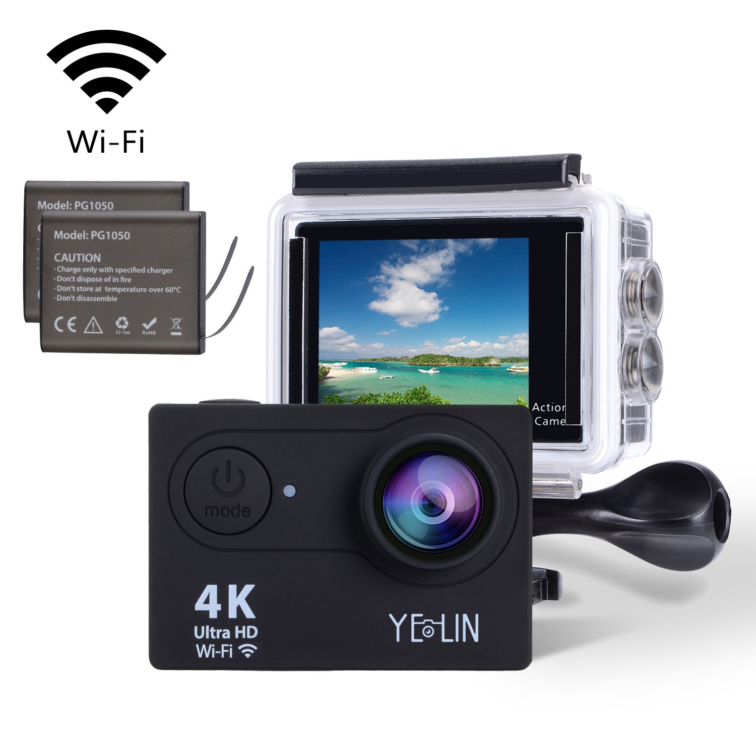 YELIN Action Camera 4K WiFi Waterproof Sport Camera HD 12MP Camcorder 170 Degree Lens with 2-inch LCD Screen 2 Rechargeable Li-ion Batteries 19pcs Accessories (Black)