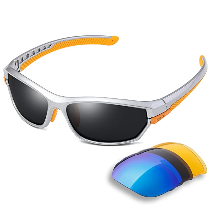 Duco polarizado Sports – Gafas de sol para esquí Driving Golf Correr Ciclismo TR90 Superlight Marco