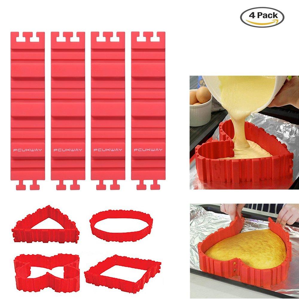 PUCKWAY Nonstick 4PCS Silicone Cake Mold Cake Pan Magic Bake Snake DIY Baking Mould Tools - Design Your Cakes Any Shape