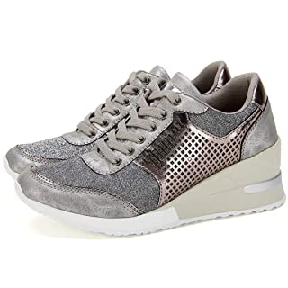 High Heeld Wedge Sneakers for Women - Ladies Hidden Sneakers Lace Up Shoes, Best Chioce for Casual and Daily Wear SM1-SILVER-6