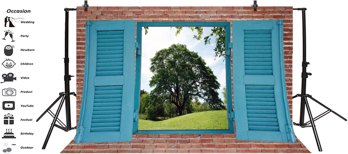 10x6.5ft Farm Windowsill Backdrop Polyester Photography Background Brick Wall Outdoor Spring Landscape Blue Window View Grass Field Green Grove Children Adult Portrait Photo Studio
