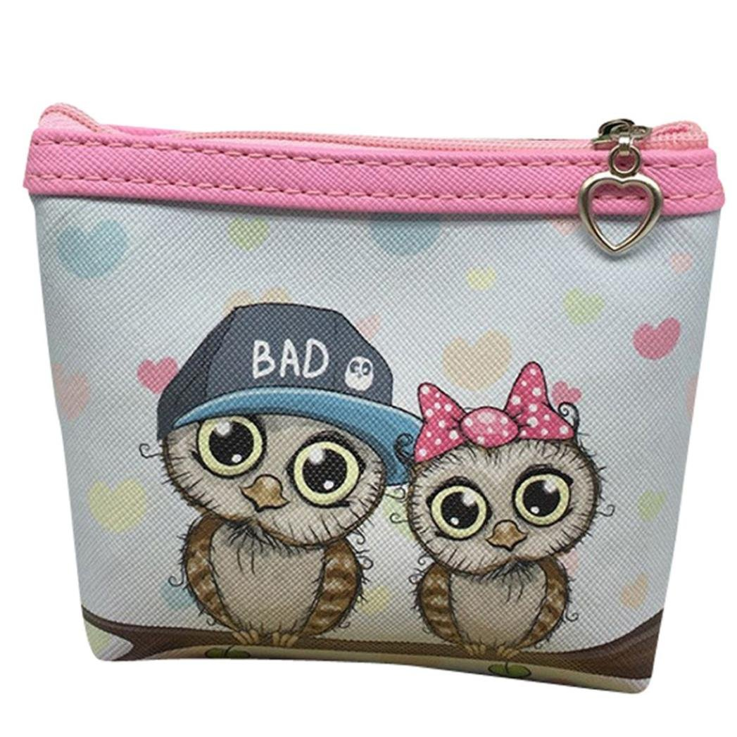 Womail Women Cute Mini Owl Zipper Handbags Girl ID Credit Card Coin Holder Wallet (G)