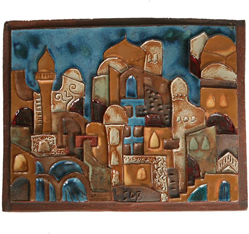 Black and white art sculpture of a three dimensions house Unique Jewish wedding gift Hebrew art Ceramic sculpture made in Israel