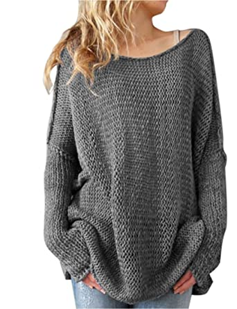 shermie Ladies O Neck Long Sleeve Knitted Plain Jumper Women Sweater  Pullover with Thumb Hole On Sleeve ...  Amazon.co.uk  Clothing 545e7bdd4683