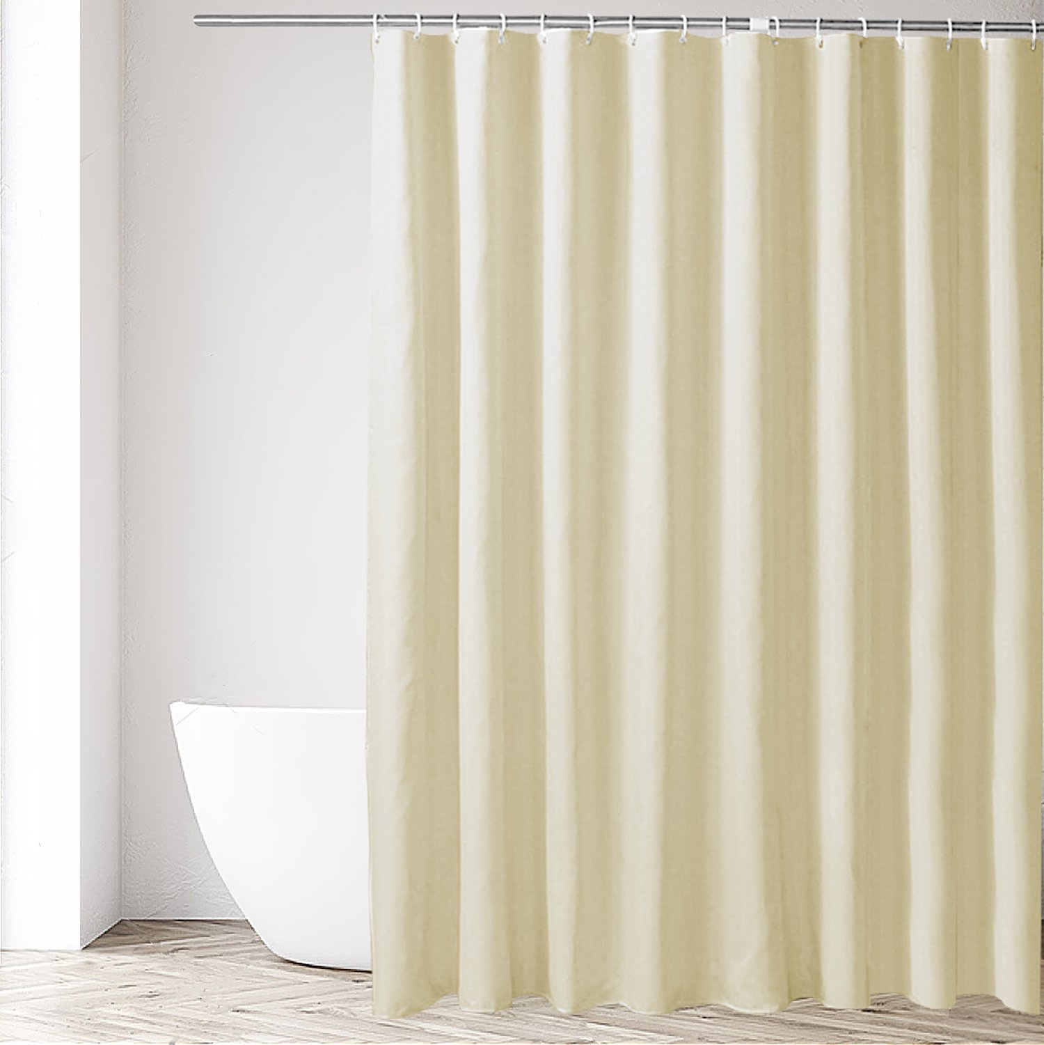 Eforgift Hotel Fabric Shower Curtain or Liner 100% Polyester No Harmful Chemicals Water Proof Stall Shower Curtain Mildew Free Narrow Size, Solid Beige, 36-inch by 72-inch