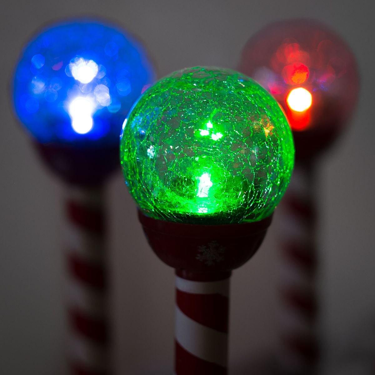 Amazon Com 6pk LED Solar Pathway Lights Christmas Crackle Color  - Pathway Christmas Lights