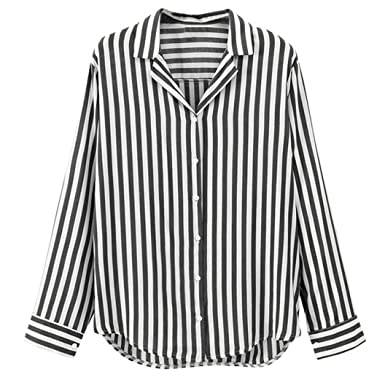 a764a94cc3c Todaies Women Ladies Striped Blouse Long Sleeve Button Work Office Blouse  Top Tee Shirt at Amazon Women s Clothing store