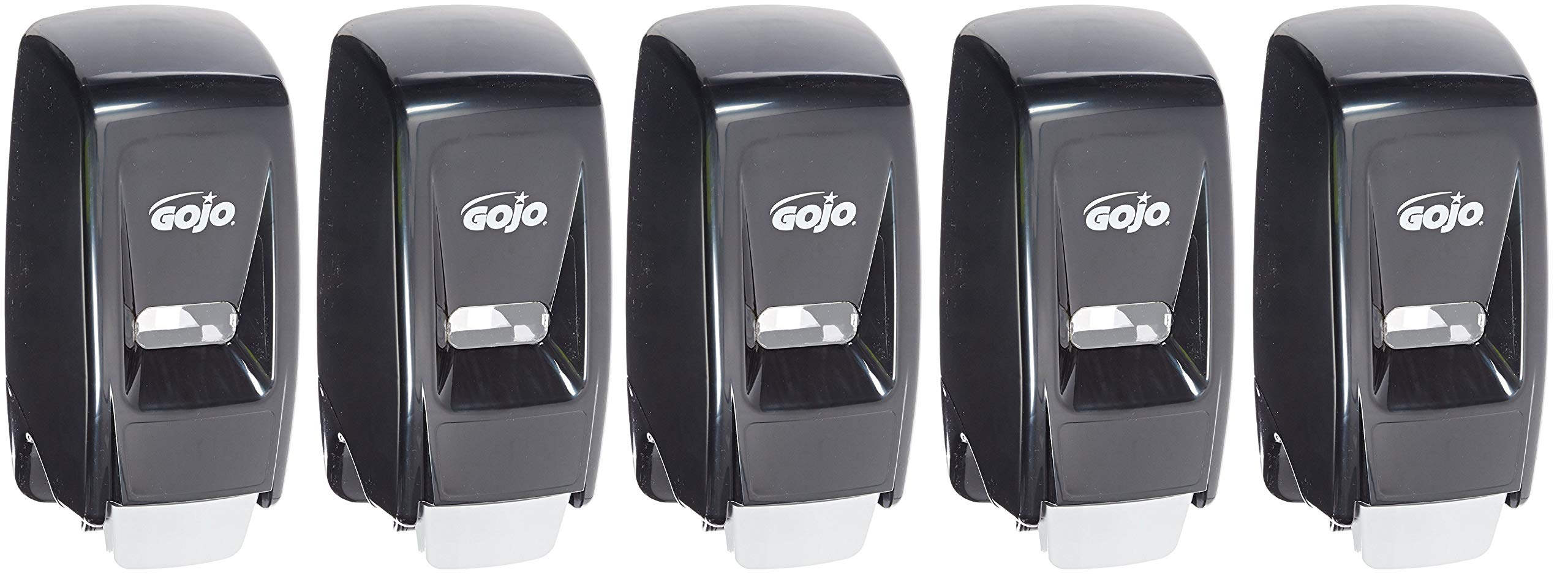 Gojo 800 Series Bag-in-Box Lotion Soap Push-Style Dispenser, Black, Dispenser 800 mL Lotion Soap Refills - 9033-12 (5 Pack)
